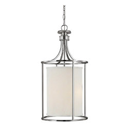 Capital Lighting - Capital Lighting Midtown Transitional Foyer Light X-474-NP2409 - Elegant Transitional Foyer Light in a lantern style with contemporary design elements. An extraordinary gracious light fixture with a clean White Fabric shade and a beautifully executed Polished Nickel finish makes a perfect modern look.