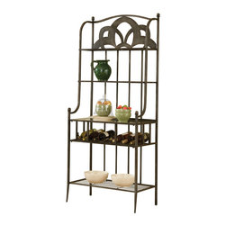 Hillsdale Furniture - Hillsdale Marsala Baker's Rack - Small Center Design - in Gray with Brown Rub - Boasting a more traditional finish but whimsical design, our Marsala Baker's Rack is sure to excite with its laser cut almost floral appearing accent and sturdy metal construction. Featuring three shelves, a glass top serving area, plus wine storage all finished in an eye-catching gray base with brown highlighting, this baker's rack is a perfect marriage of form and function. Assembly required.