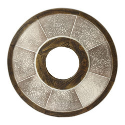 Lazy Susan - Iris Raku Wall Art - Round and round the circle of ceramic and wood goes; anywhere you hang this intricate piece of Japanese-inspired art in your home it will lend a feeling of peace.