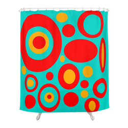 Crash Pad Designs - Crash Pad Designs Funky Shower Curtain - Dale - Bring sheer joy to your decor with this playful, retro-inspired shower curtain. The brilliant mod pattern is printed on 100 percent polyester, creating a vibrant curtain for your bathroom.