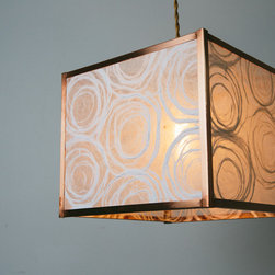 Mod Box Drum Shade with White Fiber Swirly Paper - Design by Lindsay MacLeod, photo by Andrew Cebulka