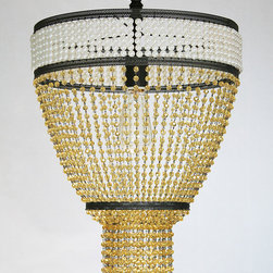 Soliel - Hand-beaded light fixture, made in NYC. Semi-flush mount with many bead options possible.
