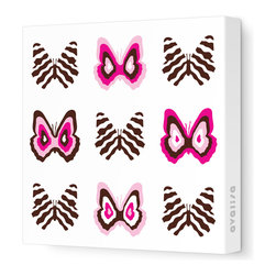 "Avalisa - Imagination - Butterfly Group 1 Stretched Wall Art, 18"" x 18"", Pink Brown - Butterflies are a symbol of change and transformation, and nothing will change your room faster than graphic artwork on the walls. This butterfly grouping comes in your choice of sizes and color combinations, and is printed on stretched fabric, ready to hang."