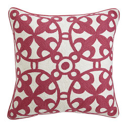 Moroccan Crewelwork Pillow Cover - Pink - Morocco is a country known for its zestful communities. From the deserts in the east to the colorful shoreline views in Casablanca, this area has been recognized for its love of color and lively culture. The designs on our Moroccan Pillows are similar to those found in various details throughout Morocco, woven in a crewel stitch with wool thread. The vibrant color is reminiscent of Morocco's remarkable landscape.