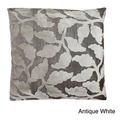 Thro - Valentina Floral 20x20-inch Throw Pillow - Accent your home with this elegant Valentina throw pillow. Featuring a classic leaves motif in neutral colors, this versatile pillow is complete with a velvet reverse side and a feather fill, for an expensive look and feel for a portion of the price.