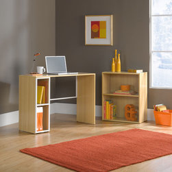 "Sauder - Treble Studio Edge Writing Desk with Bookcase - This unique desk/bookcase combination is perfect for young students at home or in college. Handsome design is classic and clean fitting in all decors. Features: -Desk with bookcase.-Desk features cubbyhole storage.-Rear crossbars added for rigidity.-Bookcase has adjustable shelf.-Treble collection.-Distressed: No.-Collection: Treble.-Desk Type: Writing Desk.-Powder Coated Finish: No.-Gloss Finish: No.-UV Finish: No.-Top Material : Engineered wood.-Base Material: Engineered wood.-Hardware Material: Metal.-Pieces Included: Desk and bookcase.-Non-Toxic: Yes.-Water Resistant: No.-Stain Resistant: Yes.-Heat Resistant: Yes.-Style: Soft Modern.-Design: Rectangular.-Eco-Friendly: Yes.-Cable Management: No.-Keyboard Tray: No.-Height Adjustable: No.-Drawers Included: No.-Pencil Drawer: No.-Jewelry Tray: No.-Exterior Shelving : No.-Ergonomic Design: No.-Handedness: both.-Scratch Resistant: Yes.-Chair Included: No.-Legs Included: No.-Hutch Included: No.-Treadmill Included: No.-Cork Back Panel: No.-Modesty Panel : No.-CPU Storage: No.-Built In Outlet: No.-Built In Surge Protector: No.-Light Included: No.-Tipping Prevention: No.-Modular: No.-Lifestage: Teen-adult.-Commercial Use: No.-Product Care: Wipe with damp cloth.-Swatch Available: No.-Recycled Content: Yes -Remanufactured/Refurbished : No..Specifications: -FSC Certified: Yes.-EPP Certified: Yes.-CARB Compliant: Yes.-ISTA 3A Certified: Yes.-Green Guard Certified: No.-ANSI BIFMA Certified: No.-SCS Certified: No.Dimensions: -Overall Product Weight: 59 lbs.-Overall Height - Top to Bottom: 28.5"".-Overall Width - Side to Side: 63.5"".-Overall Depth - Front to Back: 15.51"".-Desk Return: No.-Credenza: No.-Bridge: No.-Cabinet: No.-Drawer: No.-Shelving: Yes.-Seat: No.-Desktop Height: 28.5"".-Desktop Width - Side to Side: 39.5"".-Desktop Depth - Front to Back: 15.12"".-Hutch : No.-Legs: No.Assembly: -Assembly required.-Assembly Required: Yes.-Additional Parts Required: No.Warranty: -Manufacturer provides one year warranty.-Product Warranty: 1 year."