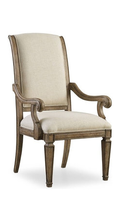 """Hooker Furniture - Solana Upholstered Chair - Set of 2 - Arm - White glove, in-home delivery included!  Luminous and fresh, Solana is a refined rustic, opulent yet casual collection that celebrates the look of natural wood bathed in sunshine.  Set of 2 chairs.  Upholstered seat.  Arm chair: 25"""" w x 28 1/2"""" d x 44"""" h  Side chair: 22 1/2"""" w x 28 1/2"""" d x 44"""" h"""