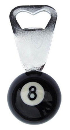 Sterling Gaming - 8-Ball Bottle Opener in Chrome Plated Steel - 1.50 in. 8-ball bottle opener. Chrome-plated steel opener fits inside an actual and smaller size 8 ball. Openers are larger than they look. Weight: 0.5 lbs.