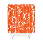 DENY Designs - Rachael Taylor Contemporary Orange Shower Curtain - Guaranteed to wake you like a triple shot of espresso, this lighthearted shower curtain will send you out the door with a smile on your face and a spring in your step. It's made of machine-washable polyester, so it'll stay looking fresh, shower after shower.