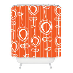 Rachael Taylor Contemporary Orange Shower Curtain - Guaranteed to wake you like a triple shot of espresso, this lighthearted shower curtain will send you out the door with a smile on your face and a spring in your step. It's made of machine-washable polyester, so it'll stay looking fresh, shower after shower.