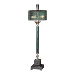 Uttermost - Uttermost Carolyn Kinder Table Lamp in Polished Chrome - Shown in picture: Dark Blue Green Water Glass Column With Polished Chrome Details And A Matte Black Foot. Dark blue green water glass column with polished chrome details and a matte black foot. The round drum shade is blue green Tiffany style water glass.