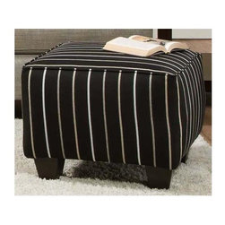 Chelsea Home - Daisy Striped Accent Ottoman - Plywood's are nailed, stapled and corner blocked. 8 gauge flat sinuous springs. 1.8 high density Dacron wrapped foam. PSI compression: 28 to 30 lbs.. Seating comfort: Medium. Made from 70% polypropylene, 30% polyester and solid hardwood. Ellington ebony color. Made in USA. No assembly required. 23 in. L x 23 in. W x 17.5 in. H (75 lbs.)