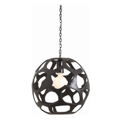 Arteriors - Ennis Large Pendant - Modern and monumental, this large iron pendant has a unique open-weave design that will add sculptural interest to your entryway or dining room. A hammered ceiling canopy in a matching black finish completes the dramatic look.
