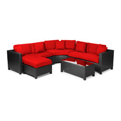 """Reef Rattan - Reef Rattan 5 Piece Sectional Sofa Set - Black Rattan / Red Cushions - Reef Rattan 5 Piece Sectional Sofa Set - Black Rattan / Red Cushions. This patio set is made from all-weather resin wicker and produced to fulfill your needs for high quality. The resin wicker in this patio set won't fade, shrink, lose its strength, or snap. UV resistant and water resistant, this patio set is durable and easy to maintain. A rust-free powder-coated aluminum frame provides strength to withstand years of use. Sunbrella fabrics on patio furniture lends you the sophistication of a five star hotel, right in your outdoor living space, featuring industry leading Sunbrella fabrics. Designed to reflect that ultra-chic look, and with superior resistance to the elements in a variety of climates, the series stands for comfort, class, and constancy. Recreating the poolside high end feel of an upmarket hotel for outdoor living in a residence or commercial space is easy with this patio furniture. After all, you want a set of patio furniture that's going to look great, and do so for the long-term. The canvas-like fabrics which are designed by Sunbrella utilize the latest synthetic fiber technology are engineered to resist stains and UV fading. This is patio furniture that is made to endure, along with the classic look they represent. When you're creating a comfortable and stylish outdoor room, you're looking for the best quality at a price that makes sense. Resin wicker looks like natural wicker but is made of synthetic polyethylene fiber. Resin wicker is durable & easy to maintain and resistant against the elements. UV Resistant Wicker. Welded aluminum frame is nearly in-destructible and rust free. Stain resistant sunbrella cushions are double-stitched for strength and are fully machine washable. Removable covers made with commercial grade zippers. Tables include tempered glass top. 5 year warranty on this product. Love Seat (R): W 54"""" D 30"""" H 27"""", Love Seat (L): W 54"""" D 30"""" H 27"""","""