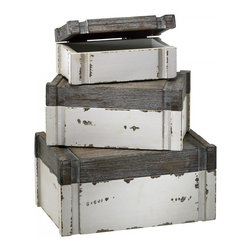 "Joshua Marshal - Distressed White and Gray 5"" Alder Boxes - Distressed White and Gray 5"" Alder Boxes"