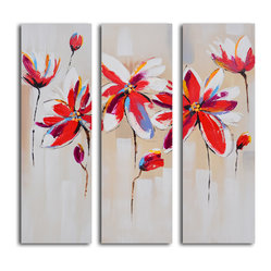 """Daliance of Red Florals"" Hand-Painted 3-Piece Canvas Set - A modern triptych is an ideal accent piece for your modern living room or bedroom. The vibrant color palette brings a beautifully hand-painted bouquet of flowers to life. Measure your space and get ready to display this with pride as it arrives to your home ready to hang and admire."