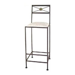 "Grace - Neoclassic Bar Stool - Features: -Painted according to your choice of metal finish. -Ships fully assembled. -Dimensions: 16"" W x 19"" D x 46"" H. -Suited for Residential use only. About Grace Collection: Grace Manufacturing is a metal and wrought iron furniture manufacturing company located in Rome, GA. The company has been in business for 25 years and continues to employ skilled artisans and craftsmen. In addition to their state of the art manufacturing equipment they still assemble and finish many products by hand. Many items in the Grace Collection are fully hand made or hand painted. With products ranging from barstools, counter stools, and dinettes to wrought iron beds, hanging potracks, bakers racks and more, Graces line meets all professional and home needs. By implementing unique styles and ideas to traditional products, Grace has created an exceptional balance between creativity and practicality. Their design styles range somewhere between whimsical, neo classic and traditional, thus creating a truly astonishing decor for any inside space."