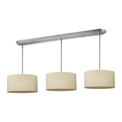 Nine Light Brushed Nickel Off White Linen Shade Island Light - Elegant and contemporary best describe this beautiful nine light fixture. Finished in brushed nickel and paired with off white shades, this nine light fixture would be equally at home in the game room, or anywhere else in the house needing a touch of timeless charm. Adjustable rods are included to ensure the perfect hanging height.