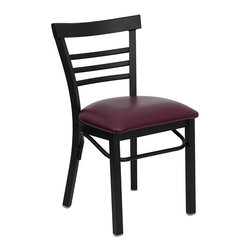 Flash Furniture - Hercules Series Black Ladder Back Metal Restaurant Chair with Burgundy Seat - Provide your customers with the ultimate dining experience by offering great food, service and attractive furnishings. This heavy duty commercial metal chair is ideal for Restaurants, Hotels, Bars, Lounges, and in the Home. Whether you are setting up a new facility or in need of a upgrade this attractive chair will complement any environment. This metal chair is lightweight and will make it easy to move around. For added comfort this chair is comfortably padded in vinyl upholstery. This easy to clean chair will complement any environment to fill the void in your decor.