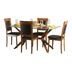 """Aeon Furniture - Greenwich Dining Table Set with Newport Dining Chairs in Cherry - Set includes table and 4 chairs. Greenwich Dining Table. High Quality 10 mm Glass Top. Solid Beech Wood Cherry Finished Base. Comfortably Seats 6 People. CARB Rated. Assembly Required. Base: 24 in. L x 45.5 in. W x 29 in. H. 59 in. L x 35.5 in. W x 29.5 in. H (106 lbs.). Newport Dining Chairs: Stylishly Designed Solid Beech Wood Dining Chairs in a Warm Cherry Finish with a Black Leatherette Fire Resistant Padded Foam Seat and Back. CARB Rated. Assembly Required. Seat Height: 18 in.. 20 in. L x 18 in. W x 37.25 in. H (12.75 lbs.)With its great look and contemporary design, this extendable dining table meets your dining and entertainment needs while enhancing the look of your home.  The table is constructed of a solid beech wood frame, stained in a warm cherry finish.   The self-contained 17.5"""" extension leaf easily transforms this table from an intimate piece to the social center of your home. Stylishly designed with functionality and comfort in mind, this solid beech wood chair is simple yet elegant.  Its padded back and seat comfortably encourages guests to linger for quality time with family and friends."""