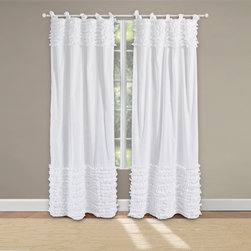 None - Lush Voile Cotton Pair of Tab Top Curtain Panel Pair - Ruffles of soft,lovely fabric are elegantly sewn to the white field on the face of this frayed-edge sheer panel pair,giving both panels a shabby chic look. Eye-catching yet casual,this romantic style coordinates with a variety of colors.