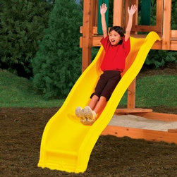PlayStar Playsets Scoop Wave Slide - Technically speaking, the PlayStar Scoop Wave Slide adds a little whoop-de-doo. Made of strong polyethylene, yellow-tinted for bright, cheerful adventures, it's deeper, stronger and wider than conventional slides. Tough plastic won't rust, crack, break or fade. Side rails keep kids on track. Designed for 48-inch PlayStar play decks. Woo-hoo!About PlayStarPlayStar was started in the Heartland of America, in the garage of an entrepreneur with this dream: to build a foundation of people who were hardworking, friendly, professional and self-motivated to do the right thing, to offer the ultimate customer service and provide the highest value, best quality and most innovative products. All PlayStar Playsets are designed following company safety standards that exceed government guidelines, to enhance your child's physical development and social skills.