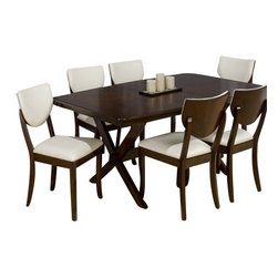Jofran - Jofran 433 Satin Walnut 7-Piece Rectangular Dining Room Set with Leaf - Combining traditional details with modern designs, Jofran has a collection to compliment any home decor. This Satin walnut 7 Piece dining Room Set in walnut belongs to 433 Series - walnut collection by Jofran Inc. The classic formulas of color combinations are not valid in Jofran Furniture territory: here is ruled by laws solely of your own preferences and fantasies. Huge selection of colors in combination with a wide choice of shapes and sizes allow you to find among this variety precisely the furniture you've always wanted to see in your home. Jofran Furniture offers high quality, casual furniture pieces that are constructed from premium Asian hardwoods, and finished with beautiful veneers. Durable materials and quality assembly will help your furniture to serve for many years and will not let you be disappointed in your choice.
