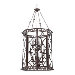 Jeremiah by Craftmade - Evangeline Peruvian Bronze 12-Light Foyer Pendant - - The Evangeline family is a cleaner approach to the traditional genre. The bodies of the hanging pieces are held in place by four decorative chains from the canopy to the frame. The metal work is highly detailed and presented in a Peruvian Bronze finish with a very light Amber Frost Glass. This grand family consists of 19 SKU?s, and matching outdoor lantern family in the Exteriors line and a matching indoor/outdoor fan in the Craftmade line: 3 chandeliers, 4 foyers, 3 pendants, 1 Island, 1 semi-flush, 1 flush, 2 sconces and 4 vanities. Various candelabra and medium bases, 60 watt max.  - Mounting Method: Chain Hung  - Chain Length: 6-inch  - Bulb not included  - Minor assembly required  - Bulb Size: B10  - Bulb Base: Candelabra  - Color: Brown Jeremiah by Craftmade - 36432-PR