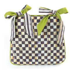 Courtly Check Seat Cushion | MacKenzie-Childs - Courtly Check® cotton-linen fabric on one side, apple green on the other. Courtly Stripe seat ties.
