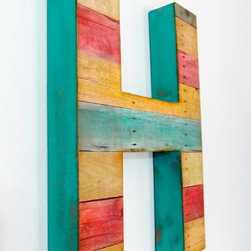 Reclaimed Wood Large Wall Letter by Debbie Saenz - Personalize open shelving with leaning letters. This one is colorful, rustic and eclectic.