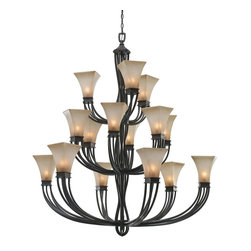 "Golden Lighting - 3 Tier Chandelier - Origins Collection - UL Listing: Dry. Number of Sockets: 15. Uses Incandescent, candelabra base bulb(s). Max Wattage: 60W. Collection: Origins. For extra chain: CHAIN-RT-HEAVYThis fixture must be installed by means of support that is independent of the outlet box. (1/4"" IPS pipe--not provided). Distinctive modern style. Metal work molded into open cage structural arms and body. Multi-step Roan Timber finish. Evolution glass continues the ""twist look"" with pearl-essence luster. A chandelier creates a stylish focal point. Dramatically sized for prominent living and dining rooms or lobbys"