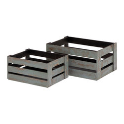 None - Grey Wood Crates (Set of 2) - Store your favorite books and games,create shelving or simply rest your feet with these versatile grey crates. These two rustic crates are finished in a speckled grey design and provide plenty of space to store your various items.