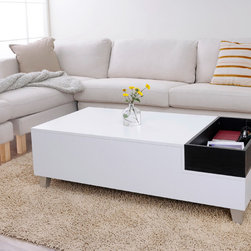 Furniture of America - Furniture of America June White Coffee Table with Serving Tray - This white wooden coffee table adds clean modern lines to any contemporary living area. The included espresso-finish serving tray provides a vibrant accent, and the table is crafted from solid materials, so you can enjoy it for years to come.