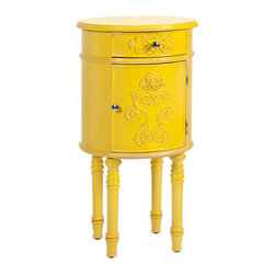 Hockney Yellow Lacquer Table - A contemporary spin on baroque style, this accent table with storage is lacquered and lovely in sunflower yellow.