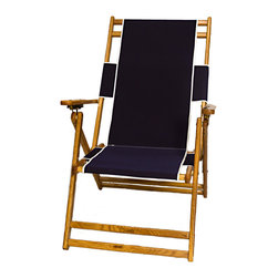 Sunrise Chair Company - Sunrise Beach Chair - Navy - Made with high quality white oak, rust-proof brass, Sunbrella outdoor fabric and double dipped marine grade varnish. Sunrise chairs will withstand the harsh conditions that the salt, sand, sun, and wind might present on the beach.