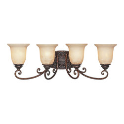 Designers Fountain - Designers Fountain 97504-BU 4-Light Bath Bar - Burnt Umber Finish, Antique Harvest Beige Glass/Shade Intricately carved filigree details and exquisitely scrolled arms with a European influence impart a worldly sophistication.