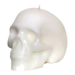 Outliving - Skull Candle - Creepy but beautiful! This artfully sculpted wax candle looks just like a human skull. The Skull Candle will is great for Halloween, but makes an eye-catching accent to any room all year round! Give this chilling candle as a housewarming gift to the slightly sinister person in your life!