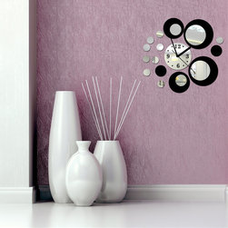 DIY Sliver Mixed Black Color Round Circle Decal Wall Clock for Setting Room - Package Include: