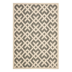 Safavieh - Poolside Grey/ Bone Indoor Outdoor Rug (2'7 x 5') - Bring an elegant touch to your patio, deck, or porch with this durable indoor/outdoor area rug. Power-loomed from durable, weather-resistant polypropylene, this attractive bone and gray geometric print rug will complement your contemporary decor.