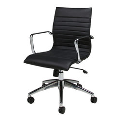Pastel - Janette Office Chair JN-164 - Black - The Janette office chair has a retro and modern flair that will brighten any room. The chair features durable chrome and aluminum frame with wheel casters. It is comfortably upholstered in PU black with adjustable tilt tension control and lift adjustable seat height. The Janette chair works in any and every office space.