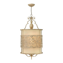 Frederick Ramond - Fredrick Ramond Carabel 4-Light Foyer - Carabels flourishing pierced metalwork creates a stunning artistic design in a luxurious Brushed Champagne finish. The elegant scroll detail  inset ivory linen shades and etched diffusers add to the beauty of this collection.