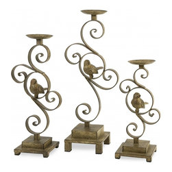 """IMAX CORPORATION - CKI Bristow Candle Holder - Set of 3 - With aviary finesse, this set of three Bristow candleholders by designer Carolyn Kinder look great in a variety of interiors. Holds pillar candles. Set of 3 in various sizes measuring around 25.25""""L x 21.50""""W x 8.00""""H each. Shop home furnishings, decor, and accessories from Posh Urban Furnishings. Beautiful, stylish furniture and decor that will brighten your home instantly. Shop modern, traditional, vintage, and world designs."""