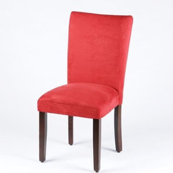 Red Parsons Chair - Go bold and beautiful with red!  Buy two of these Red Parson Chairs for use as a host and hostess chair in the dining room.  Crafted with a wood frame and an Espresso finish, the upholstery is a red, microsuede fabric.