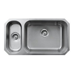 """Whitehaus Collection - Whitehaus Noah's Collection Kitchen Double Bowl Undermount with Disposal Sink - Whitehaus WHNDBU3118GDL Noah's Collection Kitchen 31"""" x 18"""" Double Bowl Undermount with Left Side Disposal Sink, Brushed Stainless Steel"""
