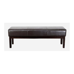 Best Selling Home - Melrose Leather Ottoman Bench in Brown - Padded top provides additional seating. Made from leather and solid wood. 56 in. L x 16 in. W x 18 in. HThe uses of the Melrose Leather Ottoman are as endless as the smooth textures found in the rich grain of the chocolate brown bonded leather that adorns the top and sides of this great piece. Endless options with its smooth texture, rich color and sturdy construction.