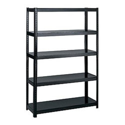 Safco - 48 in. Wide Boltless Shelving in Black - Standard utility shelving doesn't have to be difficult to construct. Our boltless design comes together in minutes to create sturdy framing. Add it in office storage areas and closets for standard supplies or create an organized space in garages and workshops. Flexible design. Allows two different set-ups: 5-shelf 72 in. H storage unit or 36 in. H workbench. Requires no nuts or bolts. Assembles in minutes without tools. Adjustable shelf with 1 in. increments. Shelf holds up to 800 lbs.. 22 ga. thick shelf and 18 ga. thick post. GREENGUARD Certified. Made from steel. Durable powder coat finish. 48.5 in. W x 18.25 in. D x 72 in. H (75 lbs.). Assembly InstructionNo bolts about it! With Boltless Shelving you're sure to get the storage space you need. These shelves are designed to get your office organized and keep it that way. Easily store office supplies, break room supplies, paper, marketing materials and other supplies so they are easy to find and incur no damage. Great for your supply room, storage area, mail room, warehouse, storage closet, garage area or even a classroom, assembly area or production area. Get storage where you need it, and always be able to find what you're looking for!