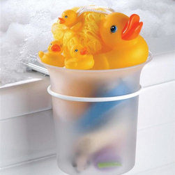 Taymor - Spa Kids Bucket Gift Set - Includes acrylic ice bucket, one large rubber ducky, two small rubber duckies and one nylon poof rubber ducky. Protective vinyl coated grips to prevent scratching of tub surface. Wipe clean with soft damp cloth. Do not use any harsh abrasives or chemicals. Made from plated steel and acrylic. Chrome finish. Minimum: 4 in. Dia. x 8.25 in. H. Maximum: 8.25 in. Dia. x 8.25 in. H (3 lbs.)Both unique and fun at the same time, the Taymor Just Ducky Bath Bucket Gift Set is sure to make any child happy.