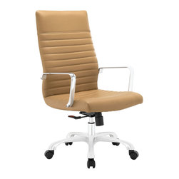 Modway - Modway EEI-1061 Finesse Midback Office Chair in Tan - Sweet precision and simple details go into making Finesse a pleasantly rewarding office chair. Designed with a delicately ribbed vinyl cushioned high back and waterfall seat, Finesse delivers a touch of everything that matters. Equipped with polished aluminum arms, and a hooded nylon base with five dual-wheeled black casters, easily glide over carpeted surfaces in style. Finesse also comes with a height adjustable pneumatic lever and tension knob to control the chair's backward tilt.