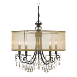 """Crystorama - Hampton Chandelier - Large - Chandelier Accented with Etruscan Smooth Oyster crystals and Gold Silk Shimmer Shade. Takes 5 - 60 w/c bulbs. Chain: 96"""" Wire: 120"""""""