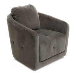 Great Deal Furniture - Bernhoft Swivel Fabric Armchair, Grey - The Bernhoft Swivel Chair offers a unique spin on the average club chair. With a swivel feature built underneath, this chair is fun and comfortable for lounging. Its sleek design makes it versatile for any room and the well padded seat and backrest provides great comfort without sacrificing style.